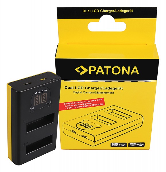 PATONA Dual LCD USB Charger f. DJI Osmo Action Kamera AB1 P01