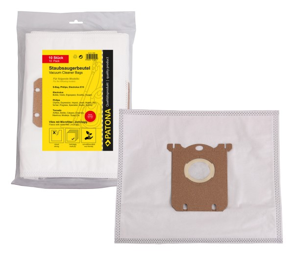 PATONA 10 vacuum cleaner bag multi layer fleece incl. Microfilter f. Electrolux E15 with new cap