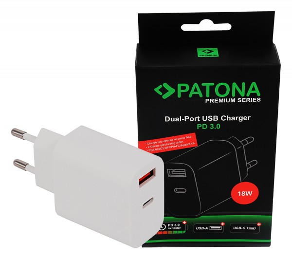 PATONA Premium Charger 18W PD QC 3.0 1x USB-C 1x USB-A 5V 3A for Apple Samsung etc.