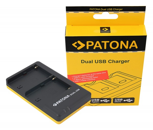 PATONA Dual Quick-Charger f.Sony NP-FM500H FM500H incl. Micro-USB cabel