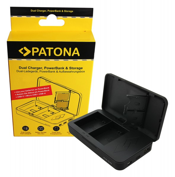 PATONA Dual charger with Powerbank function and memory card storage for Sony NP-FZ100