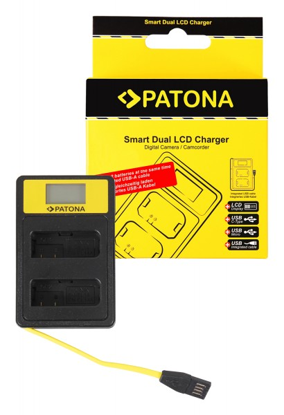 PATONA Smart Dual LCD USB Ladegerät f. Nikon EN-EL14 ENEL14 D3100 D3200 D5100 D5200 D5300 P7000 P770