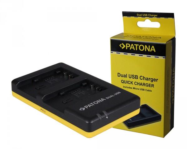 PATONA chargeur double pour Panasonic VW-VBT190 H H100 H101 H95 VW-VBT190 HC HCV700 HC-V700avec câble Micro-USB