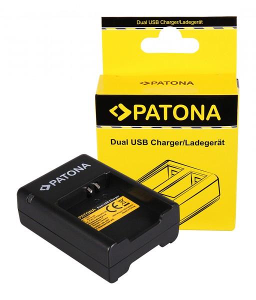 PATONA Dual Schnell-Ladegerät f. f. Samsung Gear 360 EB-BC200ABE inkl. Micro-USB Kabel