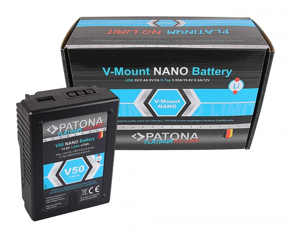 V-Mount Battery PATONA Platinum NANO V50 with 47Wh RED ARRI
