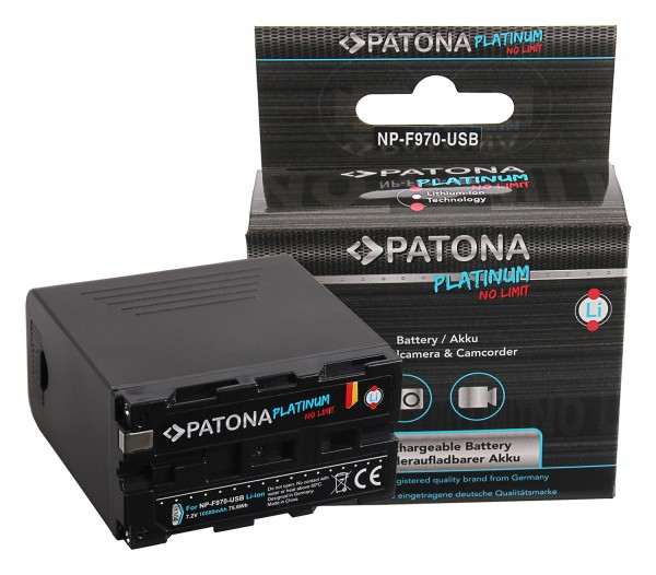 PATONA Platinum Battery f. Sony NP-F970 F960 F950 incl. Powerbank 5V/2A USB Output 10500mAh and Micro USB Input