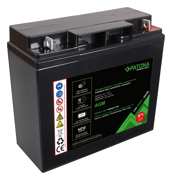 PATONA Premium AGM Lead Battery 12V 22Ah 20HR