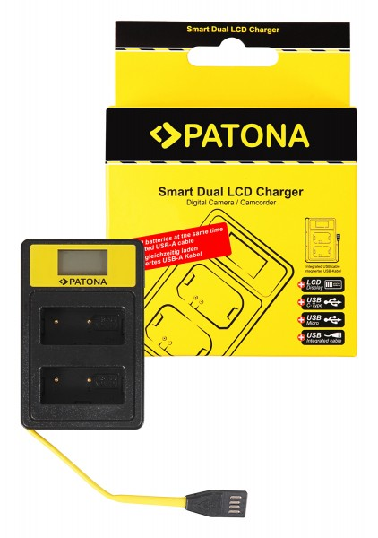 PATONA Smart Dual LCD USB Ladegerät f. Fuji NP-W126 HS30 EXR HS30EXR HS-30EXR HS33 EXR HS33EXR HS-33