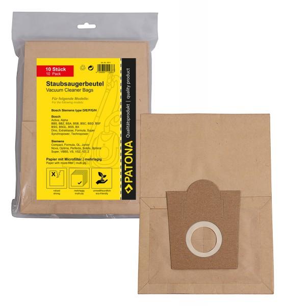 PATONA 10 Staubsaugerbeutel mehrlagig Papier inkl. Microfilter f. Bosch Typ D E F G