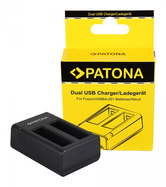 PATONA Dual Schnell-Ladegerät f. GoPro Fusion, ASBBA-001 inkl. Micro-USB Kabel