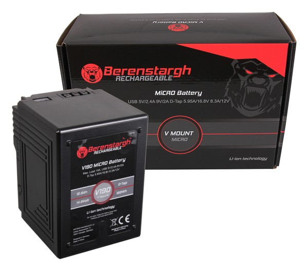 Berenstargh MICRO V190 V-Mount Battery 189Wh f. Sony DSR 600P, 650P, 652P, HDW 800P, PDW 850, BP-150w, RED ARRI