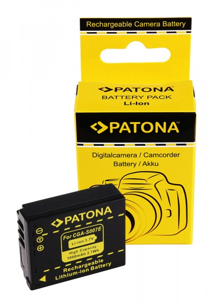 PATONA Akku f. Panasonic CGA-S007 S007 DMC-TZ5 TZ4 TZ3 TZ2 TZ1