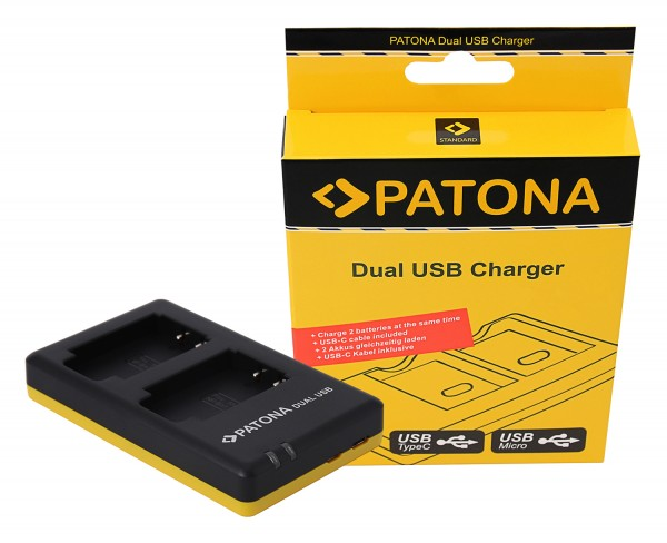 PATONA Dual Quick-Charger f.Sony NP-BX1, NPBX1 incl. Micro-USB cabel