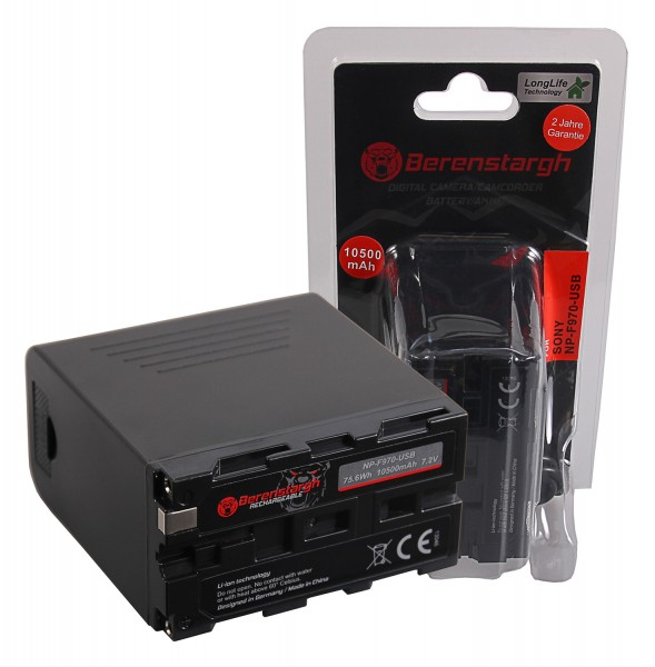 Berenstargh Battery f. Sony NP-F970 F960 F950 incl. Powerbank 5V/2A USB Output 10500mAh and Micro USB Input