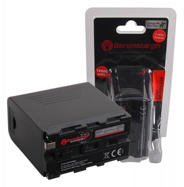 Berenstargh Akku f. Sony NP-F970 F960 F950 inkl. Powerbank 5V/2A USB Ausgang 10500mAh und Micro USB