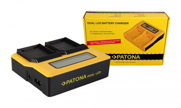 PATONA Dual LCD USB Ladegerät f. Samsung BP1900 BP-1900 EDBP1900 ED-BP-1900
