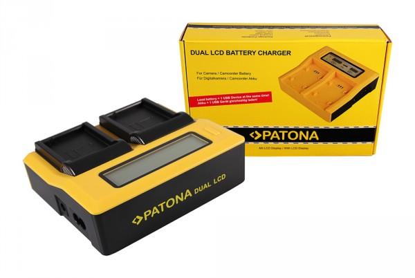 PATONA Dual LCD USB Ladegerät f. Canon BLD10E