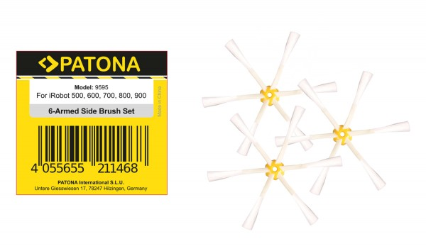 PATONA 3 side brushes for iRobot Roomba 500 600 700 800 900 series