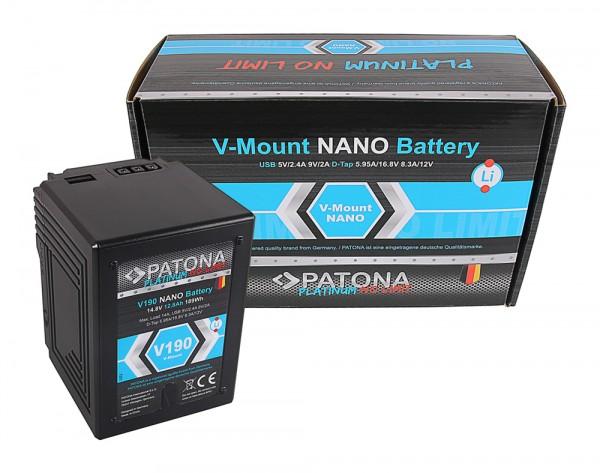 PATONA Platinum Batterie NANO à monture V190 V-Mount 189Wh pour Sony DSR 250P 600P 650P 652P HDW 800P PDW 850 BP-150w RED ARRI