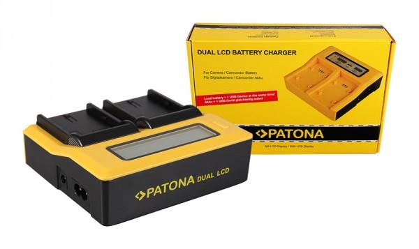 PATONA Dual LCD USB Ladegerät f. Canon LPE6 LP-E6