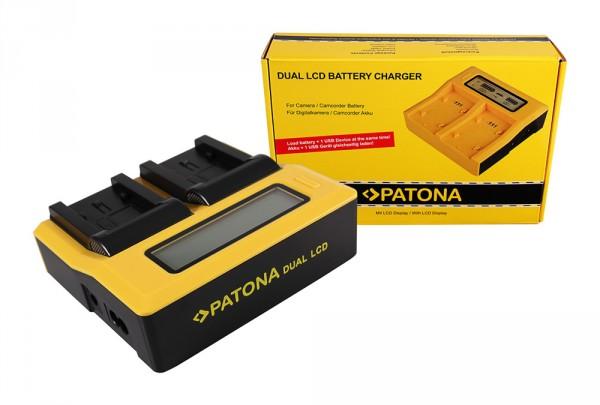 PATONA Dual LCD USB Ladegerät f. Panasonic VW-VBK180 H H100 H101 H95 VW-VBK180 HC HCV700 HC-V700