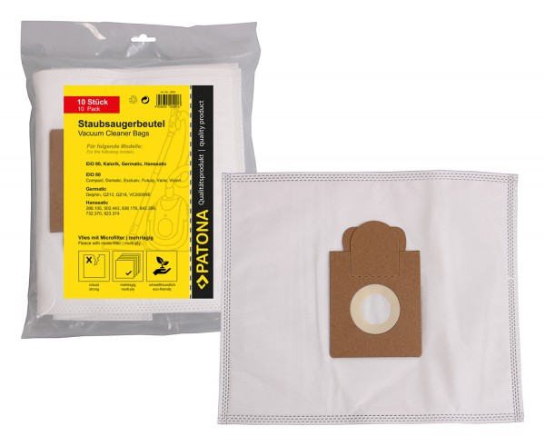PATONA 10 vacuum cleaner bag multi layer fleece incl. Microfilter f. MELITTA EIO 80