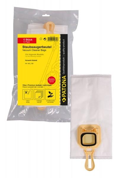 PATONA 6 sac d'aspirateur, non-tissé synthétique multi-couches + microfiltre pour Vorwerk Kobold VK140 150 Kobold VK 140 VK 150 VK140 VK-140