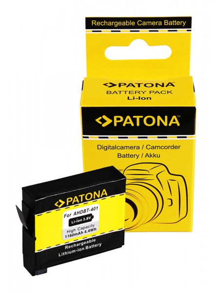PATONA Battery f. GoPro Hero 4 AHDBT-401 Black Silver Music Surf
