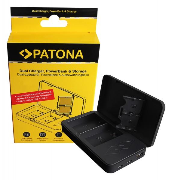 PATONA Dual Ladegerät mit Powerbankfunktion und Speicherkartenaufbewahrung f. Canon LP-E6