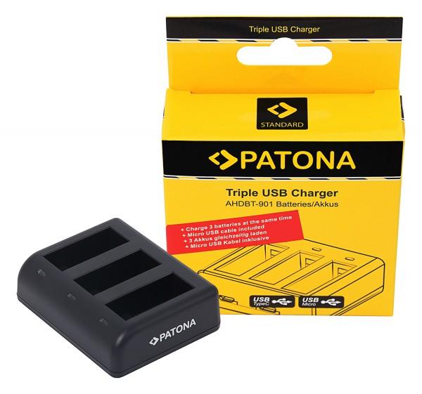 PATONA Tripple Charger for GoPro Hero 9 AHDBT901 ADBAT001 incl. Micro USB Cable