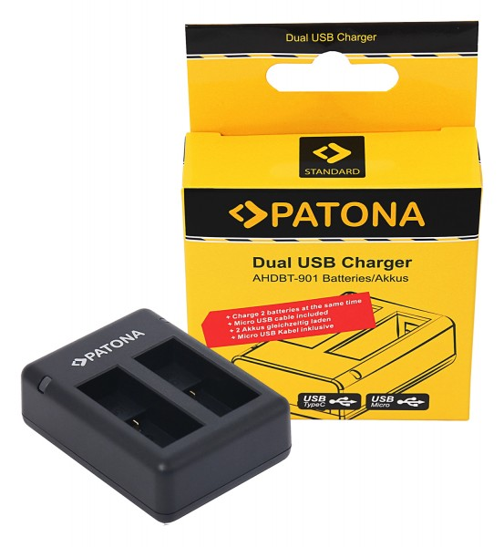 PATONA GoPro Hero 9 AHDBT901 ADBAT001 USB Dual Charger incl. Micro-USB cable
