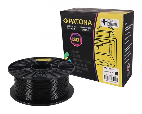 PATONA 1.75mm black TPU flexible 3D printer Filament