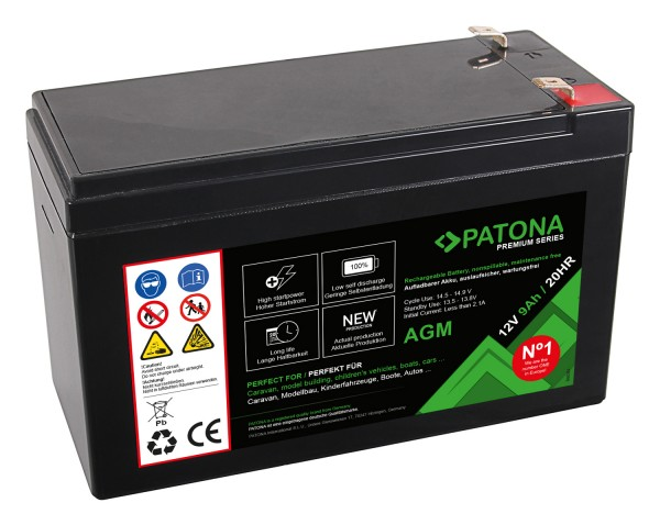 PATONA Premium AGM Lead Battery 12V 9Ah 20HR