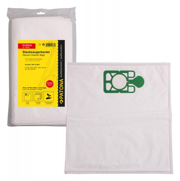 PATONA 10 vacuum cleaner bag multi layer fleece incl. Microfilter f. Numatic 1 B/C