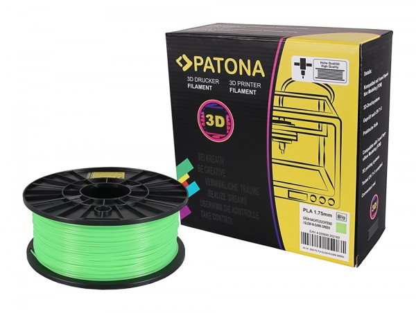 3D Printer Filament PLA 1.75mm 1kg glow-in-darkgreen
