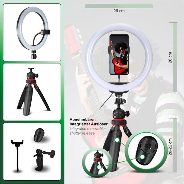 PATONA Premium Vlogger Kit: 10 Zoll Video-/Ringlicht mit Fernbedienung, integriertem Auslöser