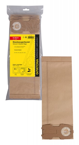 PATONA 10 vacuum paper cleaner bag multilayered f. Vorwerk Kobold VK118 VK119 VK120 VK121 VK122