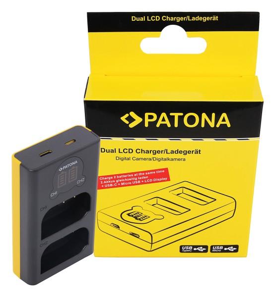 PATONA Dual LCD USB Ladegerät f. Panasonic DMW-BLK22 DC-S5 G9 GH5 GH5S