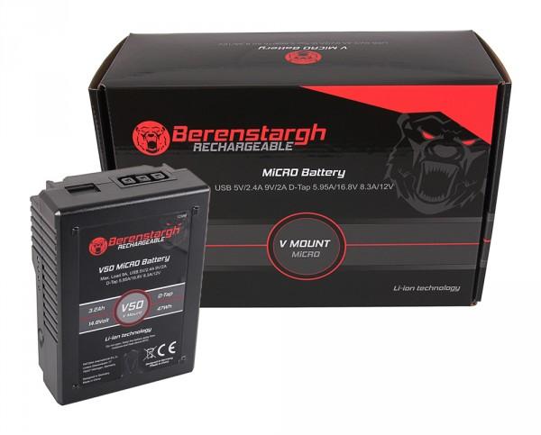 Berenstargh batteries monture V- MICRO V50 avec 47Wh pour Sony DSR 600P, 650P, 652P, HDW 800P, PDW 850, BP-150w, RED ARRI