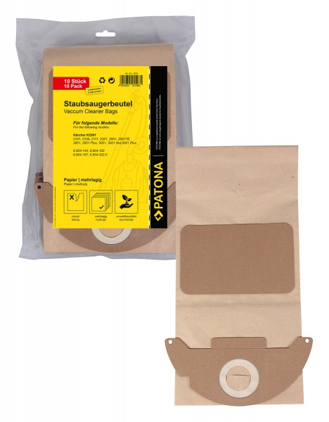 PATONA 10 vacuum paper cleaner bag multilayered f. Kärcher K2501 K2601 K3001 6.904-143 K2101 K2301 long version