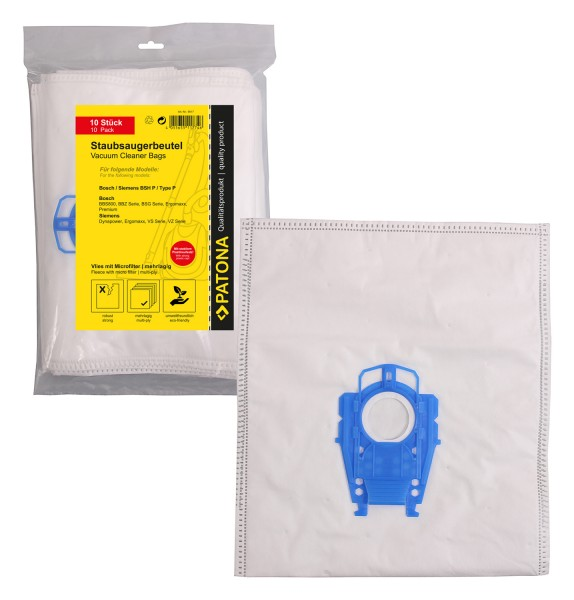 PATONA 10 vacuum cleaner bag multi layer fleece incl. Microfilter f. Bosch Typ P