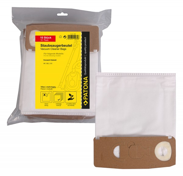 PATONA 10 vacuum cleaner bag multi layer fleece f. Vorwerk Kobold VK130 VK131