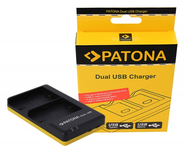 PATONA Dual Schnell-Ladegerät f. Canon LP-E6 LPE6 inkl. Micro-USB Kabel