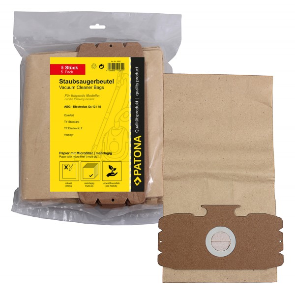 PATONA 5 vacuum cleaner bag multi layer paper incl. Microfilter f. AEG Gr. 12 15