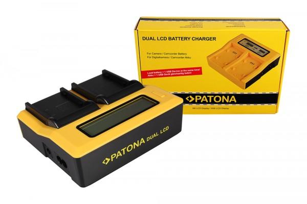 PATONA Dual LCD USB Ladegerät f. Canon BP911 BP-911 BP914 BP-914 BP915 BP-915