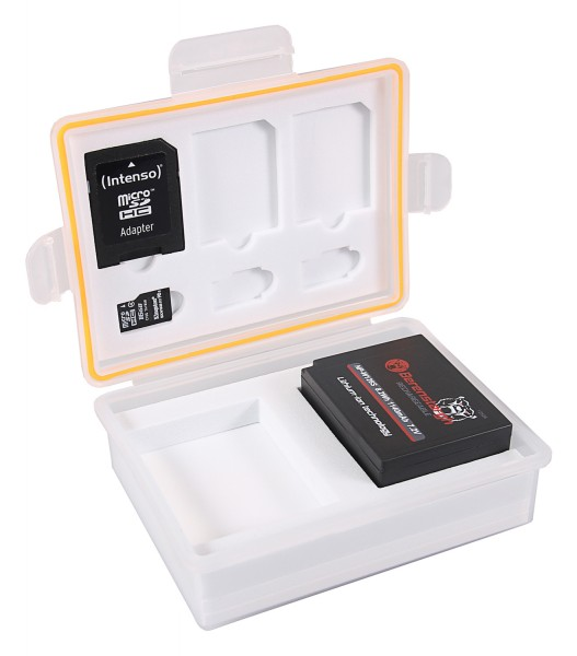 PATONA Storage box for batteries and memory cards f. Canon LP-E10 Nikon EN-EL23 Fuji NP-W126 Panasonic DMW-BLG10