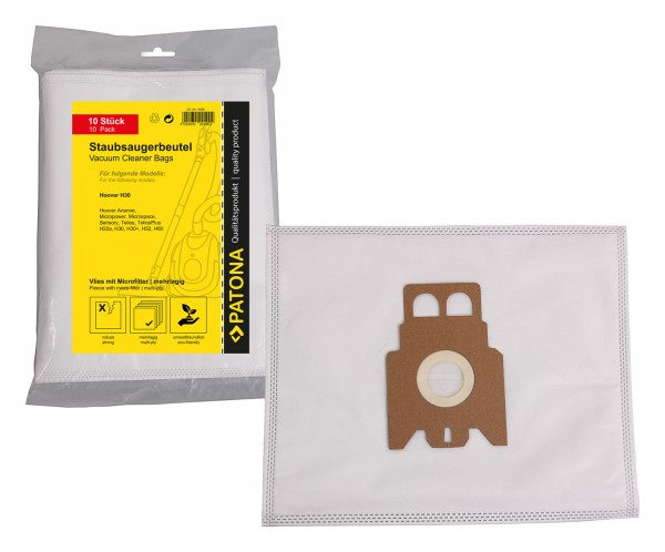 PATONA 10 vacuum cleaner bag multi layer fleece incl. Microfilter f. Hoover H22 H22A H30 H36 H52 H60 H60S H61 Type M