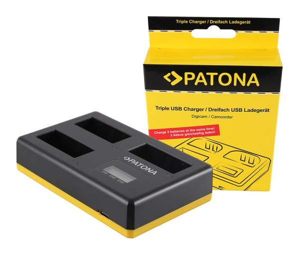 PATONA USB Triple Charger f. Canon LP-E8 EOS-450D EOS-550 EOS Rebel T2i incl. USB Type C Cable