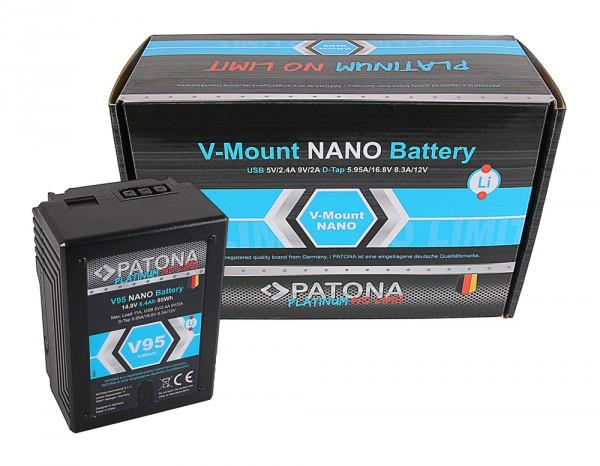 PATONA Platinum Batterie NANO à monture V95 V-Mount 95Wh pour Sony DSR 250P 600P 650P 652P HDW 800P PDW 850 BP-150w RED ARRI