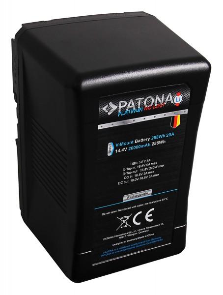 PATONA Premium Platinum Battery V-Mount 30A 288Wh with Tesla-cells f. Sony BP-290W DSR 250P 600P 650P 652P